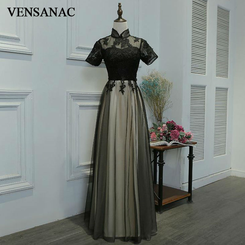 VENSANAC 2017 New A Line Embroidery High Neck Long Evening Dresses Short Sleeve Elegant Draped Sash Lace Party Prom Gowns in Evening Dresses from Weddings Events