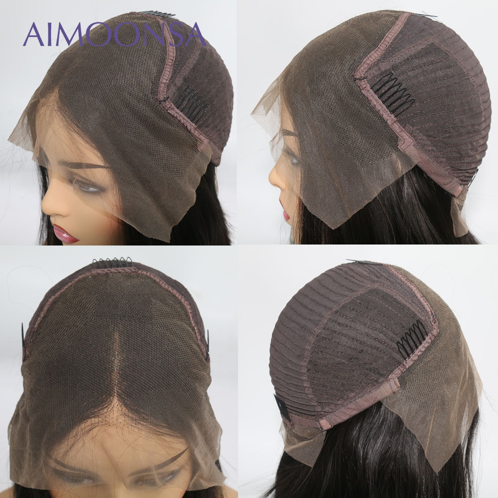 250 Density Lace Front Human Hair Wigs With Baby Hair Deep Part 13x6 Lace Front Wig Indian Remy Hair Straight Lace Wigs Aimoonsa
