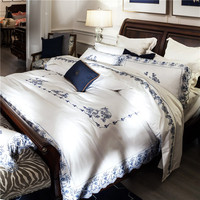 Long Staple Cotton White Lace Embroidery 4PC Luxury Bedding Sets 1 Duvet Cover 1 Flat Sheet
