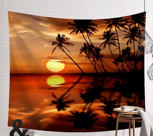 Image 5 - CAMMITEVER Sunset Blue Green Sea Coconut Tree Sandy Beach Tapestry Wall Hanging Tapestries Boho Bedspread Yoga Mat Blanket