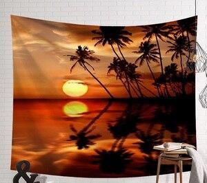 Image 5 - CAMMITEVER закат голубое зеленое море кокосовое дерево песчаный пляж гобелен настенный гобелен Бохо покрывало Коврик для йоги одеяло