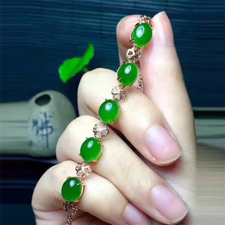 KJJEAXCMY fine jewelry 925 Pure silver inlay natural hetian jasper female style bracelet four-leaf clover simple curve chain цена