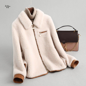 ZiZhen Natural Wool Solid Real fur coat With Turn-Down Collar zipper Jacket shorts Spring Autumn New Woman  190606-8.59339