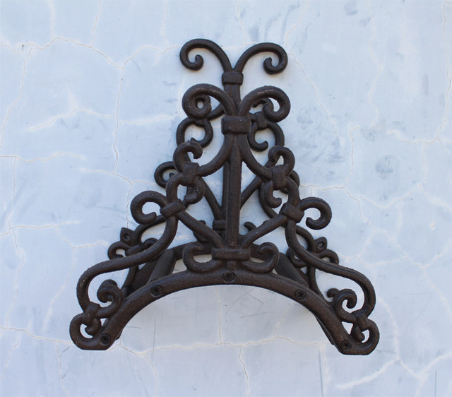 Wrought Iron New Garden Hose Rack Holder Scrowl Outdoor Decorative Hose  Reel Hanger Cast Iron Antique Rust Wall Mount Free Ship