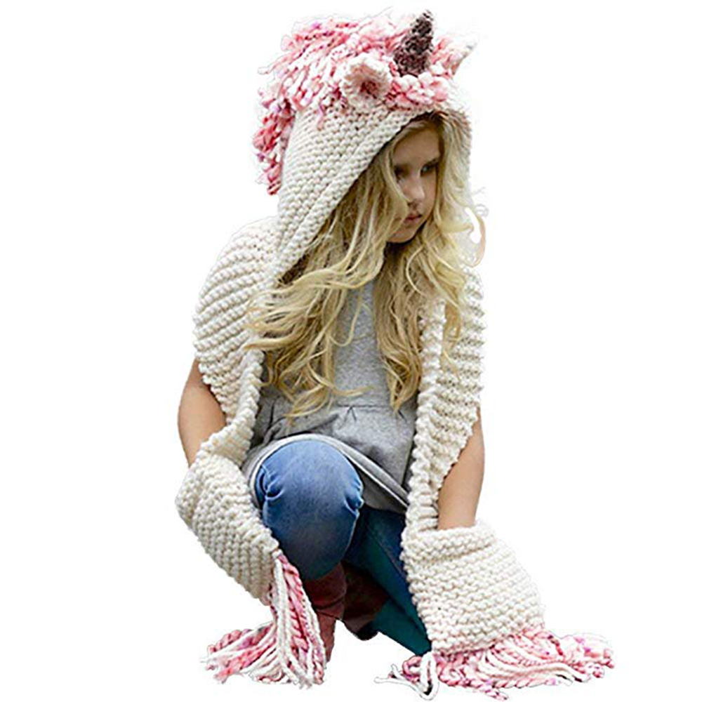 Girls unicorn hat with scarf kids Unicorn scarf cap 2 in 1 Infant Warm Knitted  Hats Winter Beanie Children Wool Knitted caps 6e42fc1fdec