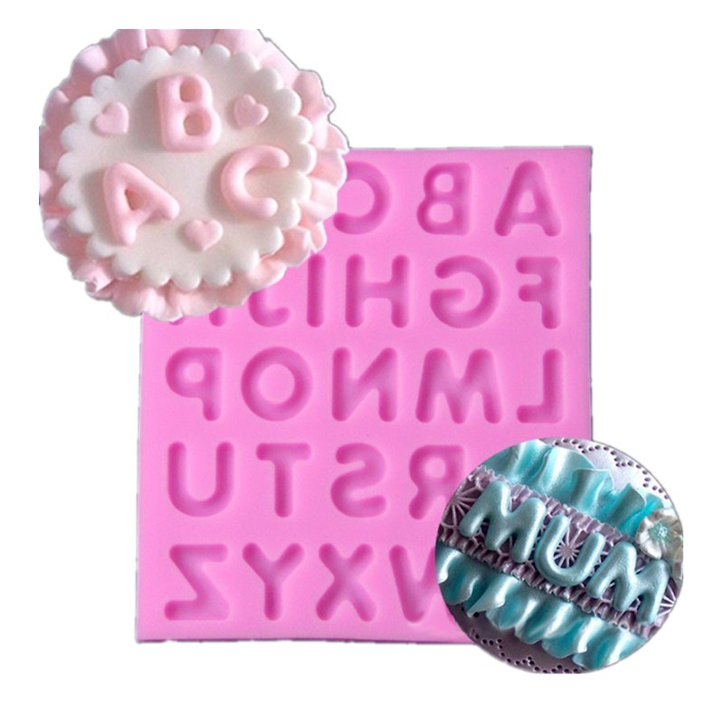 Cupcake Design Kitchen Accessories: Large Silicone Mold 3D English Letter Alphabet Cupcake
