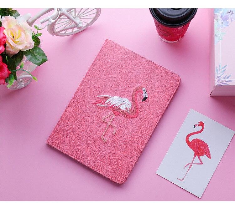 3D Фламинго Вышивка Мягкая подставка чехол Смарт сна Пробуждение Флип Чехол для apple iPad Mini 2 3 4 Air Pro 9,7 2019air 10,5