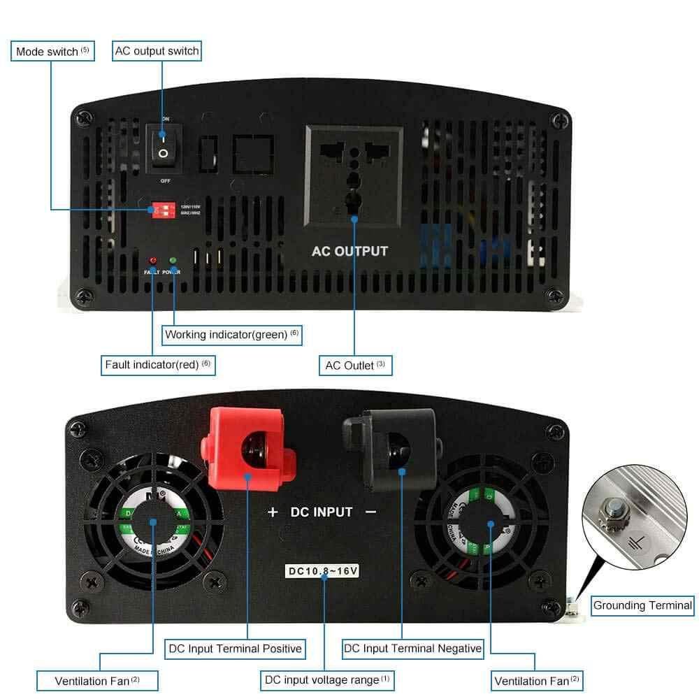 EPever 1500W IPower Nguyên Chất Sóng Sin Inverter 12VDC 24VDC Đầu Vào 110VAC 120VAC 220VAC 230VAC Đầu Ra 50HZ 60HZ biến tần