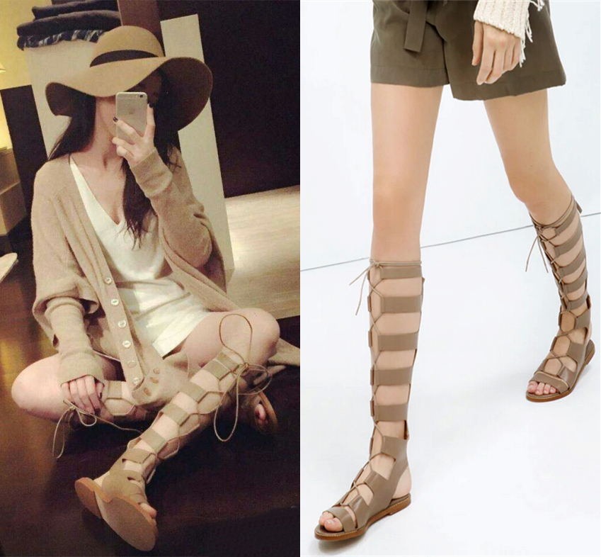 404a6a9e4184 2015 New Arrival brand Knee High gladiator sandals women Comfortable Flats  Straps Heel Sandals Summer Shoes Big Sizes 34 44-in Women s Sandals from  Shoes on ...