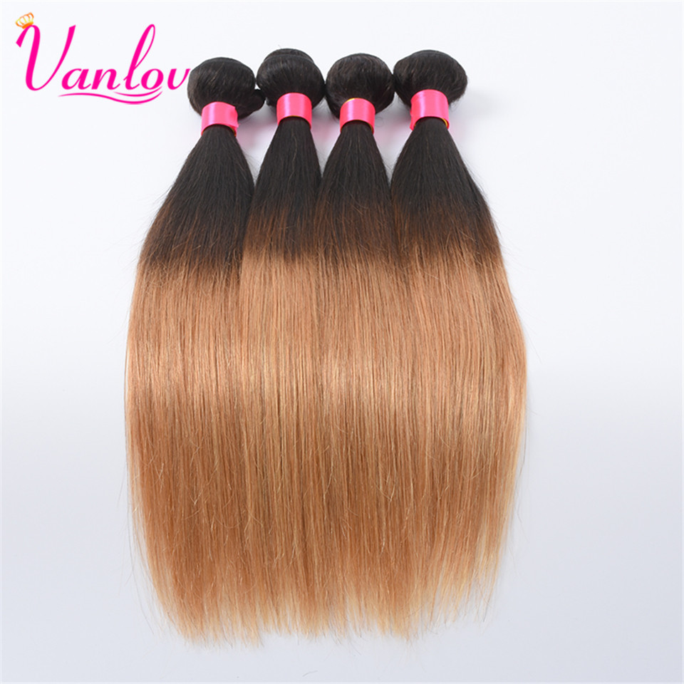 Vanlov Ombre Human Hair Malaysian Straight Hair Weave Bundles Blonde Hair Extension 1 Piece T1B/27 Non Remy Can Buy 3 or 4 PCS