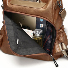Vintage PU Backpack For Women (Black / Brown)