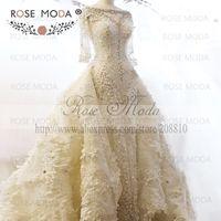 Real Photos Luxury Half Sleeves Heavily Crystal Beaded Arabic Wedding Dress With 3M Royal Train Full