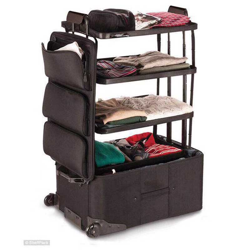 LeTrend Large Capacity Rolling Luggage Spinner Multifunction Unique Design Three-tier Space Trolley Suitcase Wheels Travel Bags