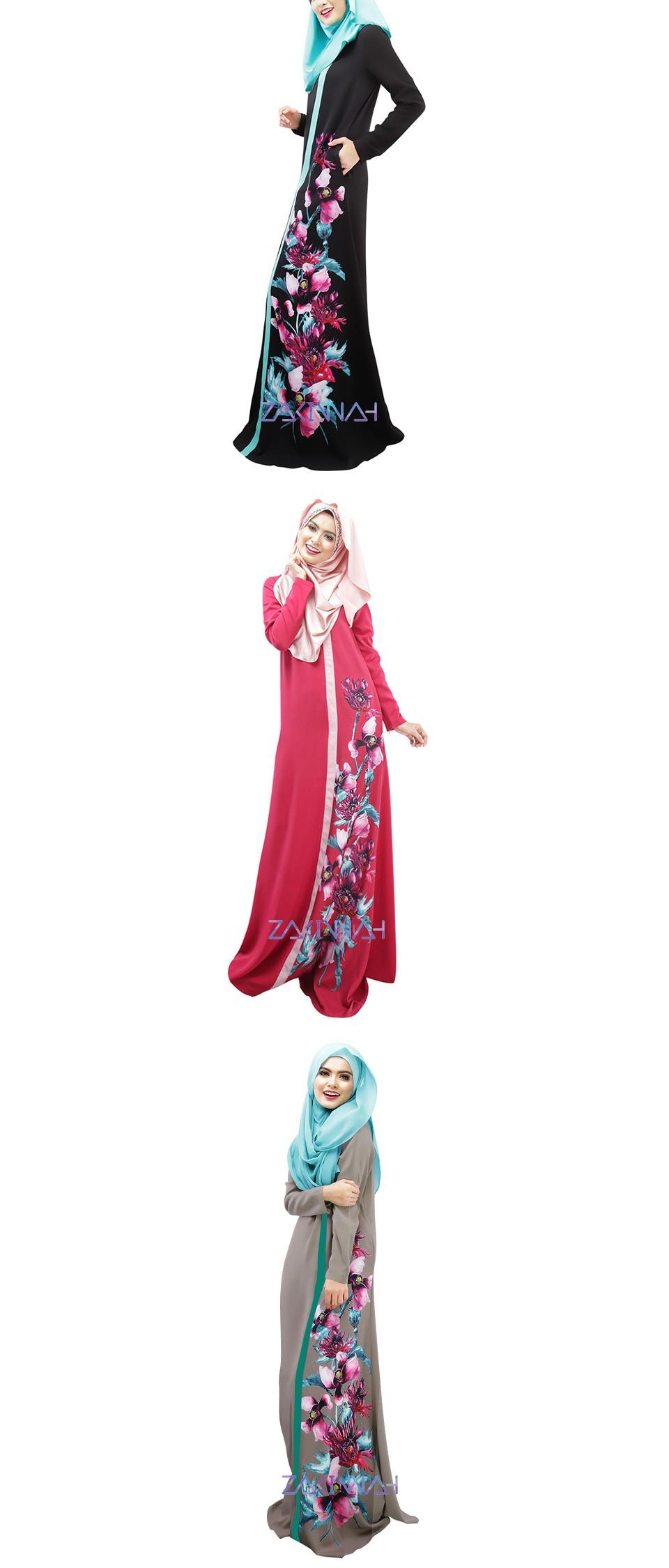 026 New Style In Dubai Women Flower Print Robe Spliced Muslim Anneyep Printed Flowers Kaftan Maxi Dress Xxldress Length 141 Sleeves 61 Shoulder 40 Bust 106 Waist 92 Hip Cm