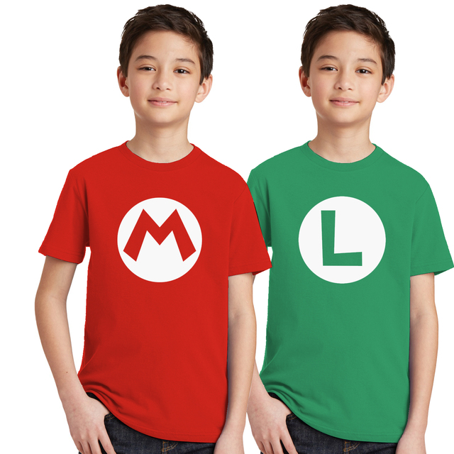 2pcs/lot Super Mario Bros. Kids Cosplay T Shirts Luigi/Wario/Princess Peach/Waluigi/Mario Boys Girls Summer Clothes T-shirt Tops