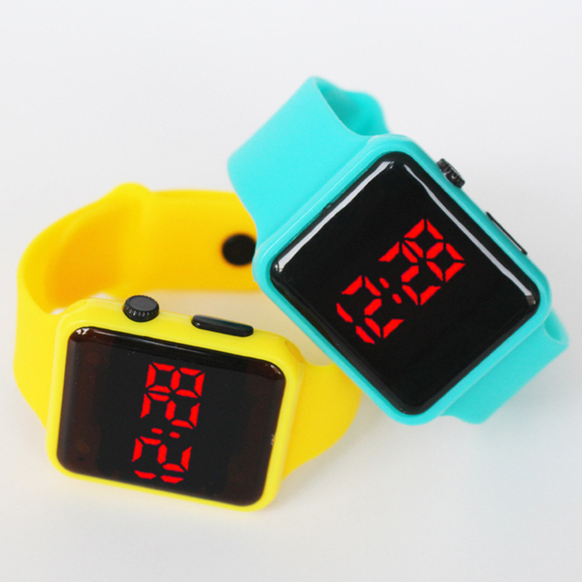 Boys And Girls Watch New Square Led Sports Kids Watches Silicone Watch Electroni