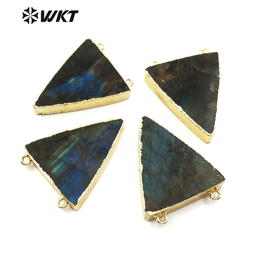 WT P579 Hot spring sale double hoops triangle labradorite pendant for women
