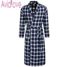 Avidlove Men's Tartan Fleece Autumn Robe Fashion Winter Bath Robe Men Long-Sleeve Long Sleepwear Brand New Nightgown Plus Size
