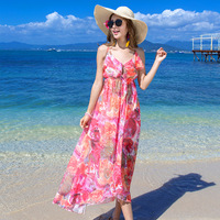 2017 Summer Style Women Dress Floral Print Dress V Neck Sleeveless Wrap Fit And Flare Dresses