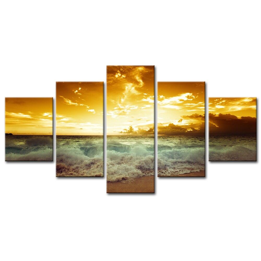 5 Pcs/Set Seascape Wall Art Modern Landscape Wave Cloudy Sunset ...