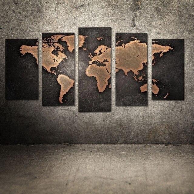 Wohnkultur Pintura Grau Weltkarte Ölgemälde Moderne Abstrakte ...