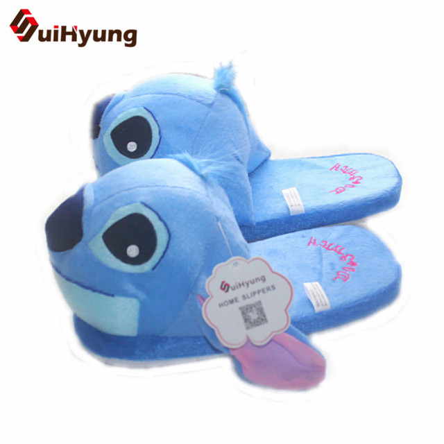 Winter New Womens Cartoon Cotton Slippers Cute Stitch Indoor Shoes Plush Warm Soft Bottom Non