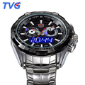New TVG Men Watches Top Brand Luxury Full Steel Dual Dispaly Sport Watches For Men 100M Waterproof Dive Watch relogio masculino