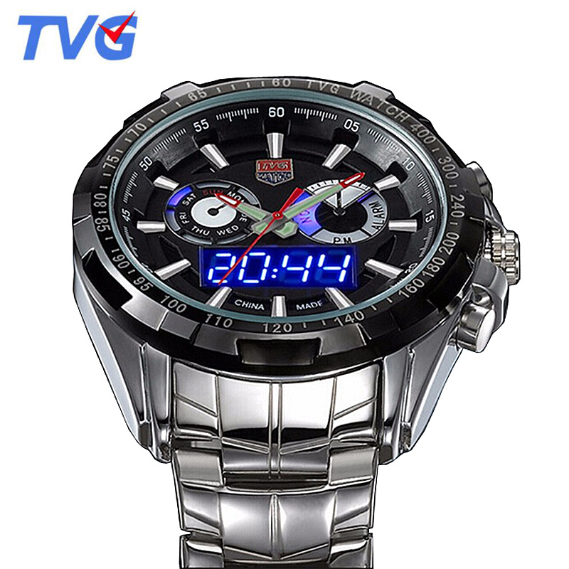 TVG Men Watches Top Brand Luxury Fashion Sports Men Led Digital Analog Watches 30M Waterproof Dive Watch relogio masculino 2017 weide popular brand new fashion digital led watch men waterproof sport watches man white dial stainless steel relogio masculino