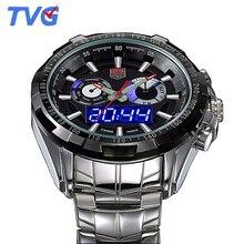Tvg hombres relojes de lujo superior de la marca de moda hombres de los deportes led digital analógico relojes 30 m impermeable reloj de buceo del relogio masculino 2017