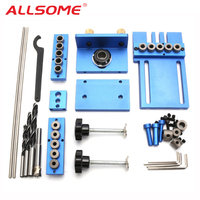 ALLSOME Aluminum Alloy Jig Dowelling Jig Set Wood Dowel Drilling Position Jig Wood Working Tool HT1705