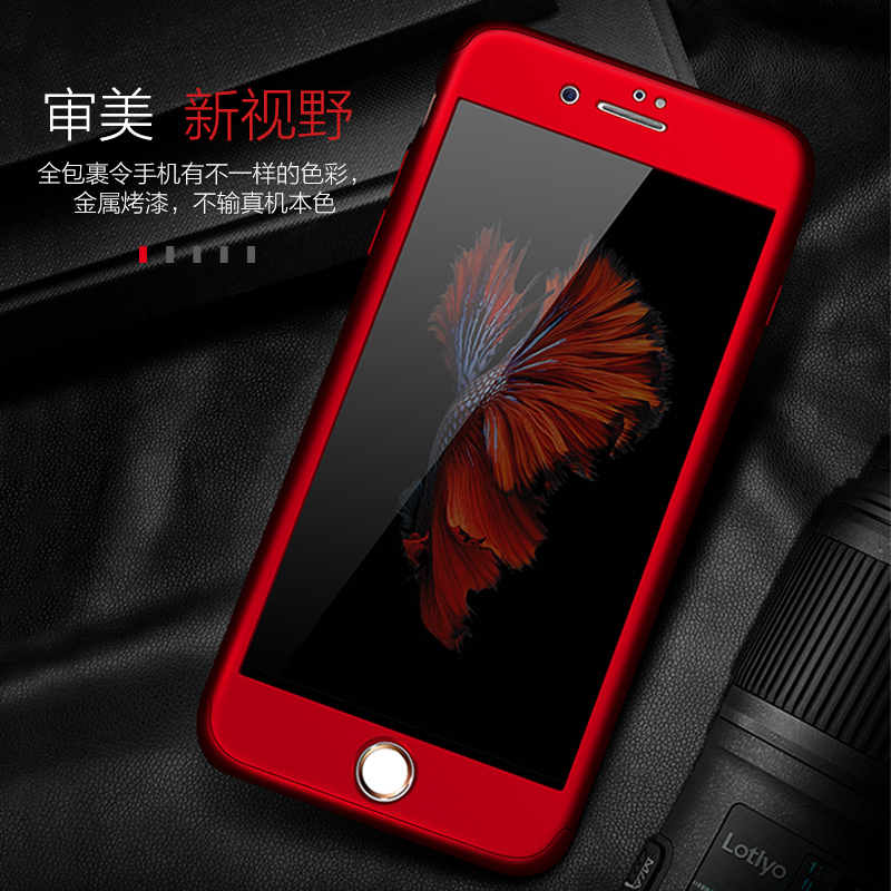 Luxury 360 Degree Full Protection Case For iPhone X 7 8 Plus iPhone 6 6S Plus 5 5S SE Hard PC Coverage Cover + Clear Glass Film