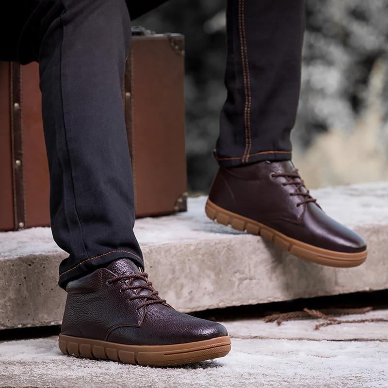 Loisirs Hommes Black Chaussures Classique Taille Véritable En Bottes Cheville Cuir De Style brown D'hiver Mode Grande Xd6q6x