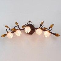 Винтажный Лофт Хрустальный зеркальный свет американский Лофт настенный светильник для ванной комнаты/спальни декоративный бра настенный