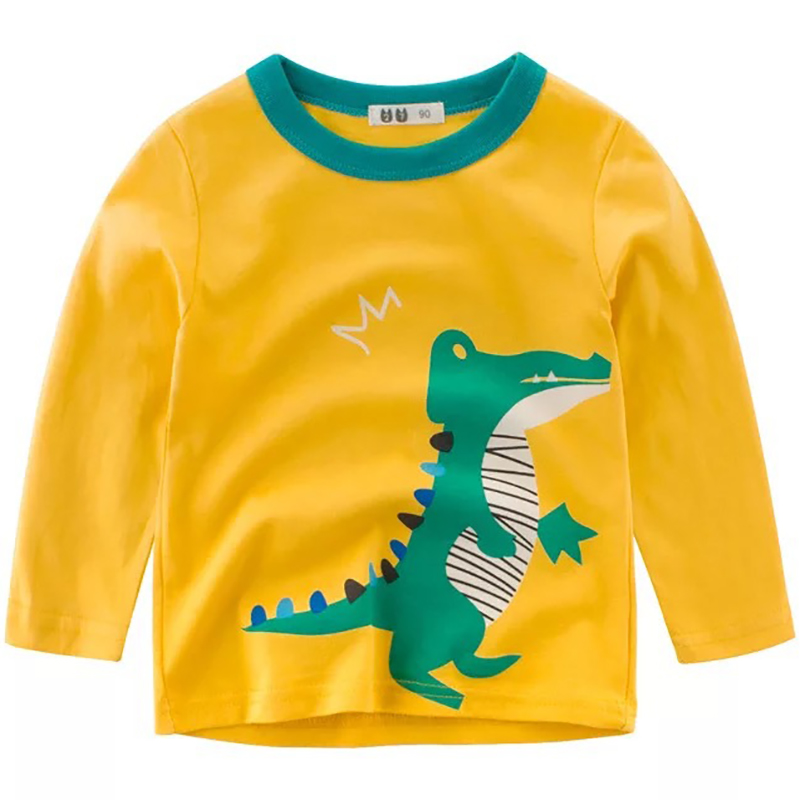 Boys T-Shirts Cute Fun Cartoon Crocodile Girls Tops Autumn Winter Kids Clothes Children Cotton Tshirts Baby Long Sleeve T Shirts