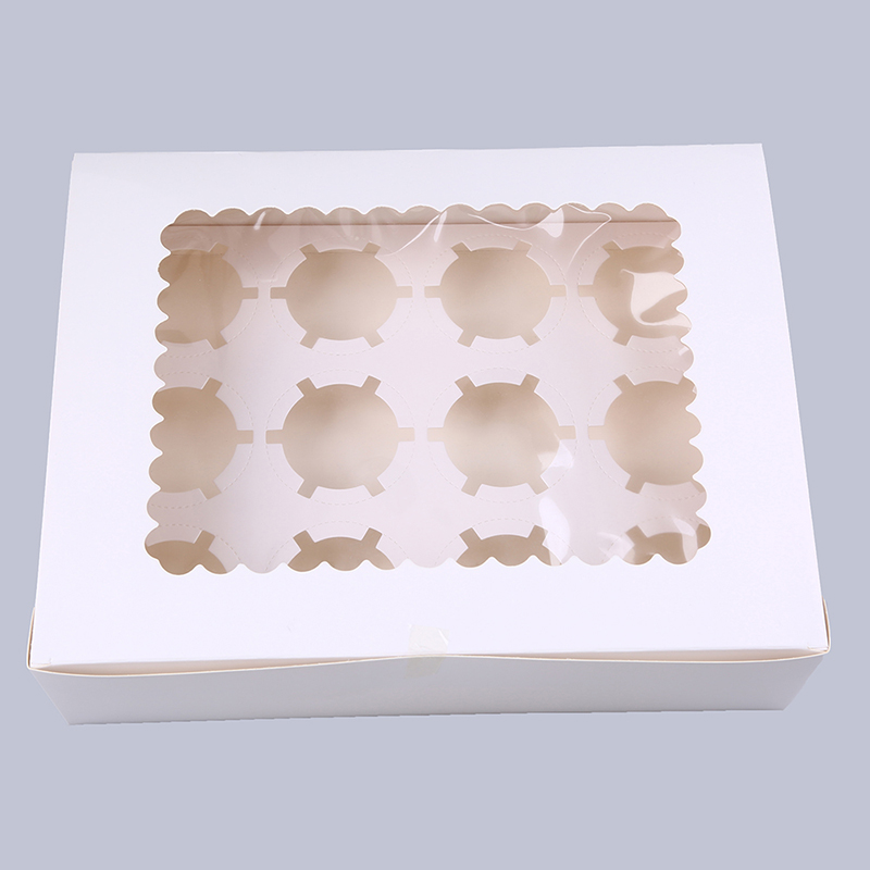 WHISM 12 Holes Muffin Cupcake Paper Box Pastry Chocolate Candy Packaging Box Wedding Christmas Birthday Party Baby Shower Favor
