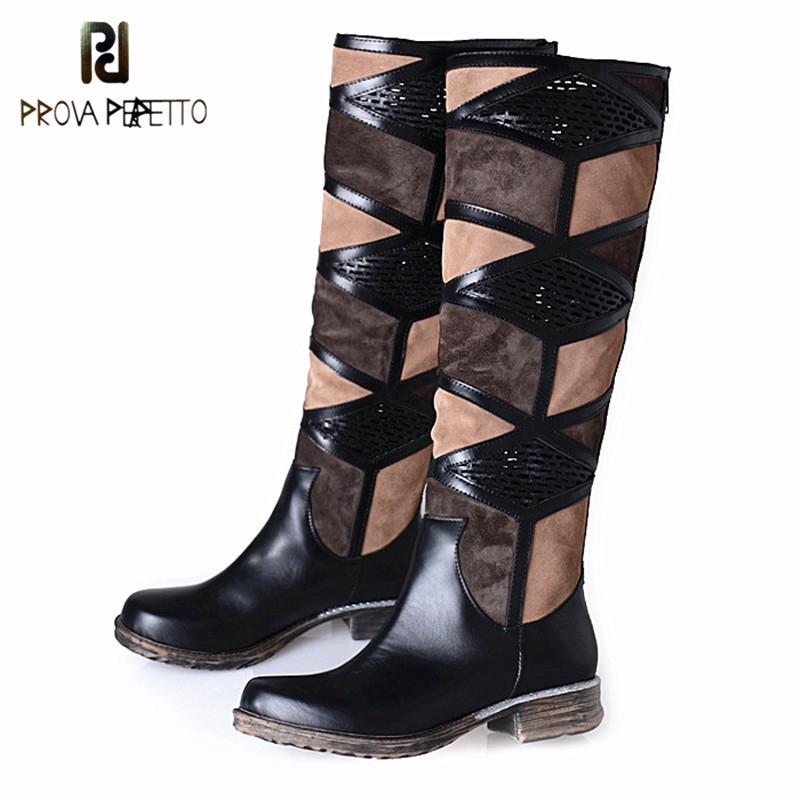 Prova Perfetto Autumn Winter Boots Woman Half Knee Boots Low Heels Female Fashion Boot Mixed Color Thick Bottom Knight Shoes mixed colors fashion women boots autumn and winter thick heels knight boots stretch knee high shoes zapatos mujer botas