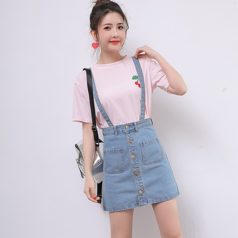 EXOTAO Strap Denim Skirts Students A-Line Single Breasted Faldas Fashion Pockets Blue Jeans Skirts Removable Pencil Mini Saias