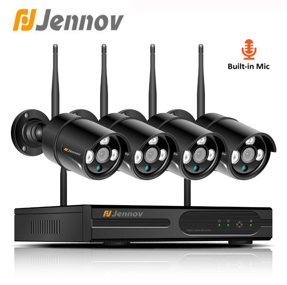 Jennov Wifi IP Camera Outdoor 1080P 2MP 4CH HDMI Security Camera System Video Surveillance Wireless CCTV Set NVR Kit Night Vi