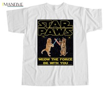 Star Paws T Shirt Cats Geek Kittens Star Wars PARODY funny Jawas Darth Episode 2019 Newest Men'S Funny Streetwear Tees T Shirts pirates sticker book star paws