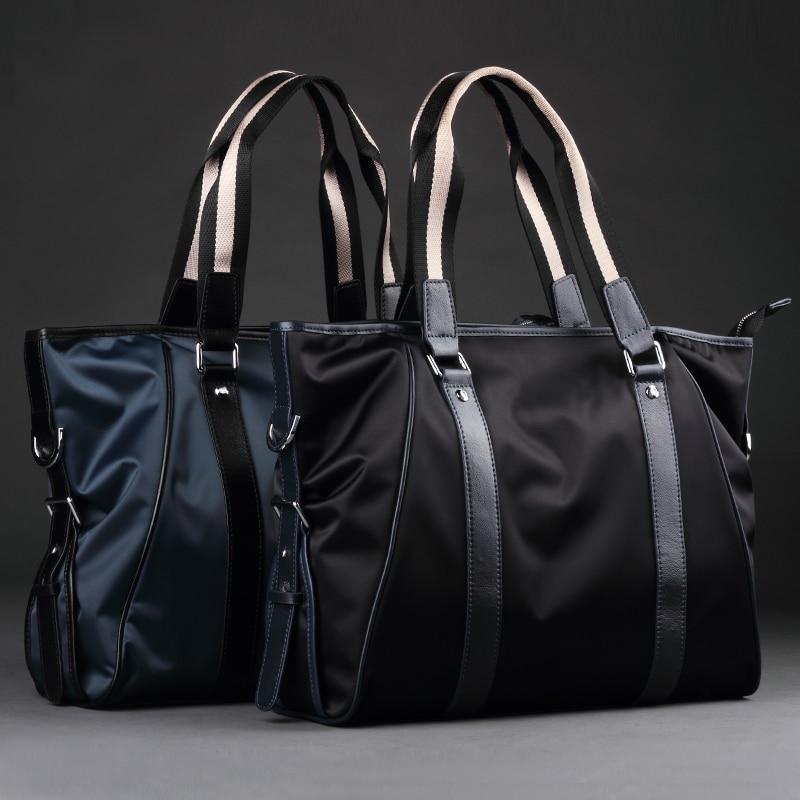 Mode Nylon tissu unique sacs à bandoulière décontracté Swagger sacs en cuir véritable Totes hommes hommes sacs à main et sacs à bandoulière (XW5001)-in Sacs à poignées supérieures from Baggages et sacs    1