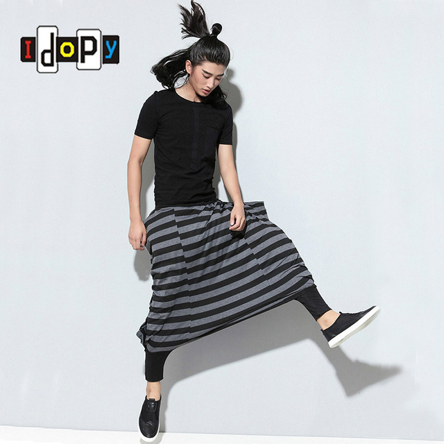 Fashion Mens Hip Hop Style Loose Harem Pants Drop Crotch Cuffed Striped Trousers For Male Hipster