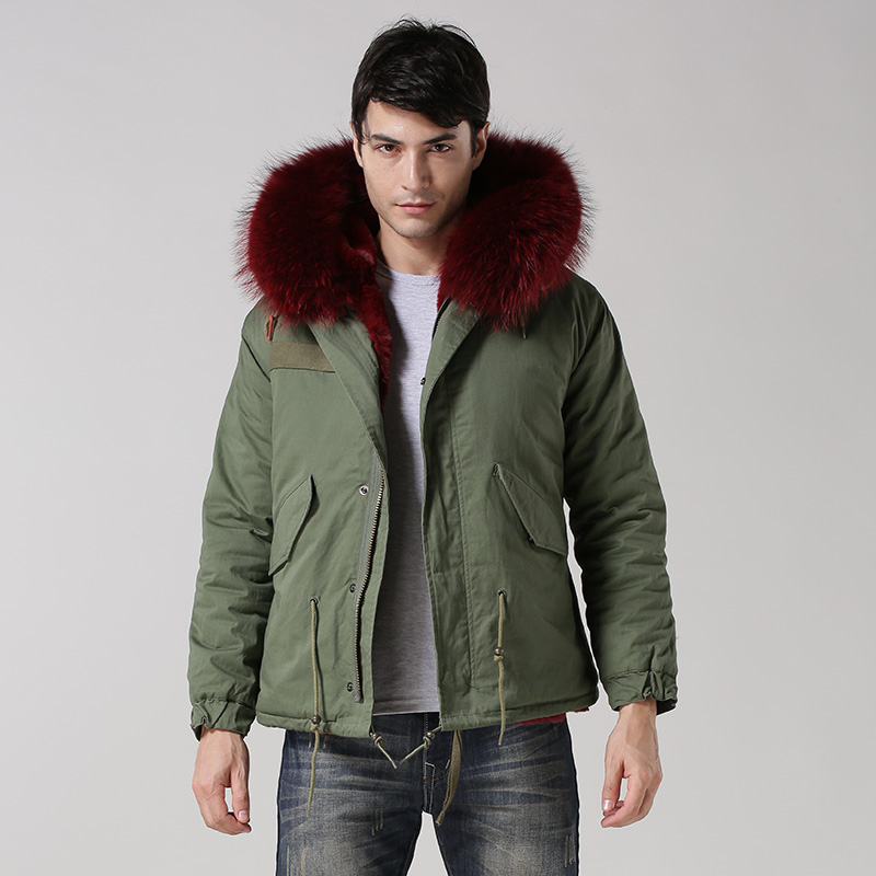 faux fur lining Male winter coat with big raccoon fur hood 2015 new arrival style