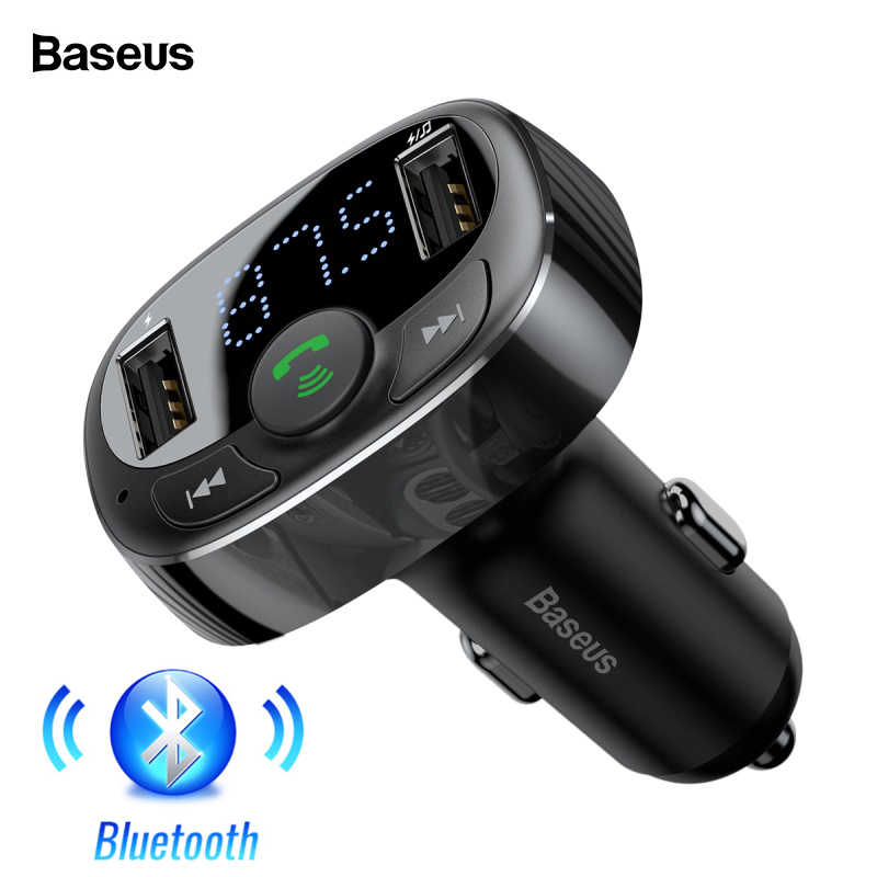 BASEUS USB Charger Mobil Kit Handsfree Fm Transmitter AUX Modulator Audio MP3 Player Bluetooth 4.2 Cepat Pengisian USB Charger Mobil