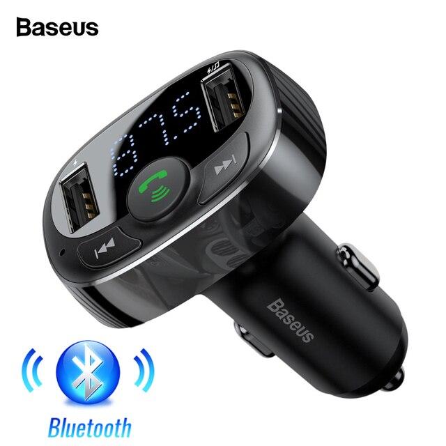 Baseus USB Комплект автомобильного зарядного устройства громкой связи fm-передатчик Aux модулятор аудио mp3-плеер Bluetooth 4,2 быстрая зарядка автомобильное USB зарядное устройство
