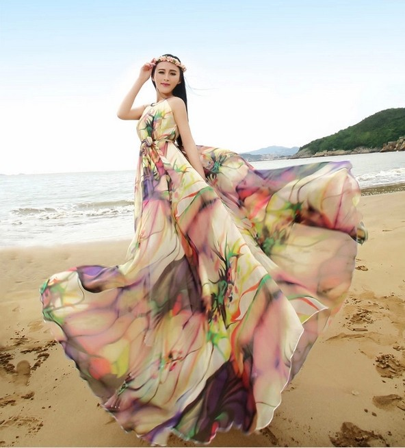 Summer Style Halter Neck Colorful Chiffon Maxi Dress Oversize Holiday Beach Sundress