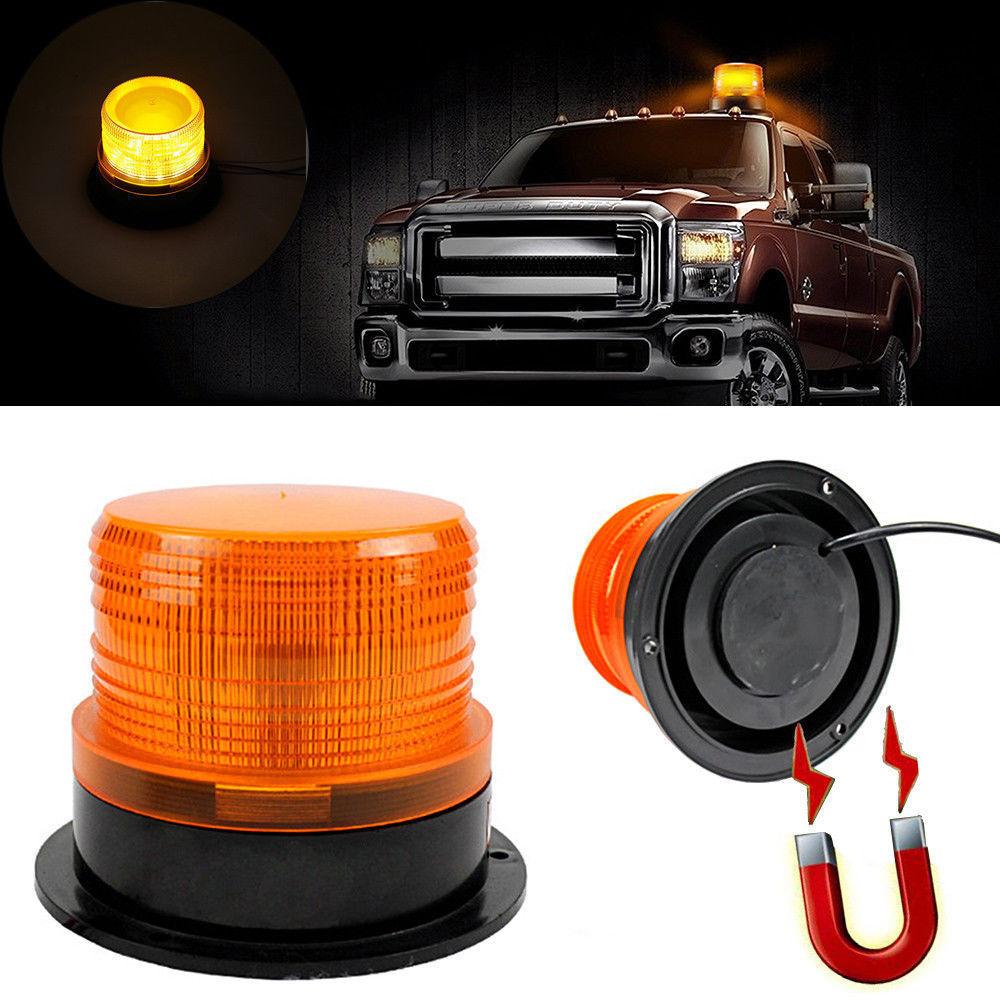 Car Rotating Traffic Safety Warning Light School Car Light Trailer Truck Led Yellow Round Ceiling Signal Magnetic Strobe Light