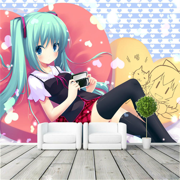 Japanese Bedroom Wallpaper Girls Bedroom Blinds Bedroom Decorating Colour Ideas Minion Bedroom Accessories: Japanese Anime Wallpaper Hatsune Miku Wall Mural 3D Photo
