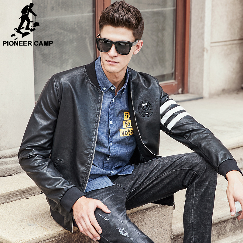 Pioneer Camp 2017 New Brand Men Leather Jacket Top Quality Fashion Casual Motorcycle Male Leather Coat Fashion Cool 677172
