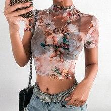 Сексуальная Сетчатая футболка с принтом ангела, укороченный топ с высоким воротом и коротким рукавом, графическая футболка для женщин, уличная одежда, Harajuku, футболки, Лидер продаж