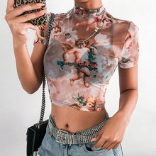 Angel Print Mesh Sexy T Shirt Crop Top High Neck Short Sleeve Graphic Tees Women Streetwear Harajuku Shirts Hot Sale(China)